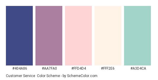 Customer Service - Color scheme palette thumbnail - #404A86 #AA7FA0 #FFD4D4 #FFF2E6 #A3D4CA