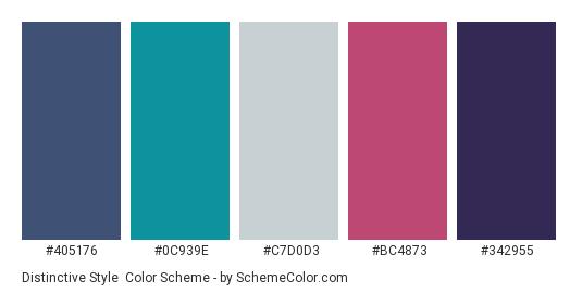 Distinctive Style - Color scheme palette thumbnail - #405176 #0C939E #C7D0D3 #BC4873 #342955