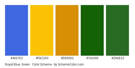 Royal Blue, Green & Gold - Color scheme palette thumbnail - #4067e2 #fac203 #d89002 #136306 #286b23