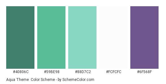 Aqua Theme - Color scheme palette thumbnail - #40806c #59be98 #88d7c2 #fcfcfc #6f568f