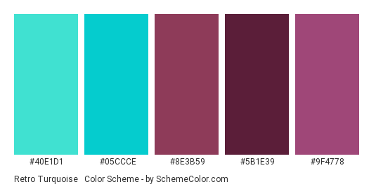 Retro Turquoise & Magenta - Color scheme palette thumbnail - #40e1d1 #05ccce #8e3b59 #5b1e39 #9f4778