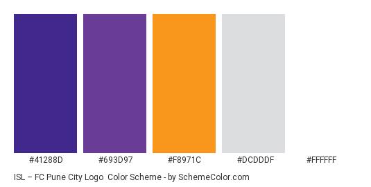ISL – FC Pune City Logo - Color scheme palette thumbnail - #41288D #693D97 #F8971C #DCDDDF #FFFFFF