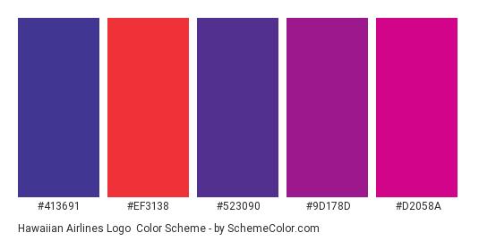 Hawaiian Airlines Logo - Color scheme palette thumbnail - #413691 #ef3138 #523090 #9d178d #d2058a