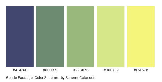 Gentle Passage - Color scheme palette thumbnail - #41476E #6C8B70 #99B87B #D6E789 #F6F57B