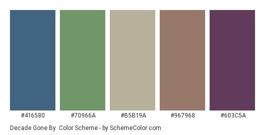 Decade Gone By - Color scheme palette thumbnail - #416580 #70966a #b5b19a #967968 #603c5a