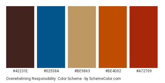 Overwhelming Responsibility - Color scheme palette thumbnail - #42231e #02558a #be9863 #be4d02 #a72709