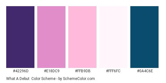What a Debut - Color scheme palette thumbnail - #42296D #E18DC9 #FFB9DB #FFF6FC #0A4C6E