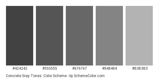 Concrete Gray Tones - Color scheme palette thumbnail - #424242 #555555 #676767 #848484 #B3B3B3