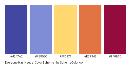 Everyone Has Needs - Color scheme palette thumbnail - #4247A2 #7E8DD5 #FFD871 #E27343 #940B3D