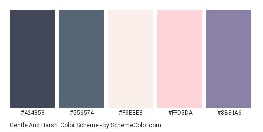 Gentle and Harsh - Color scheme palette thumbnail - #424858 #556574 #F9EEE8 #FFD3DA #8B81A6