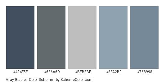 Gray Glacier - Color scheme palette thumbnail - #424f5e #636a6d #bebebe #8fa2b0 #768998