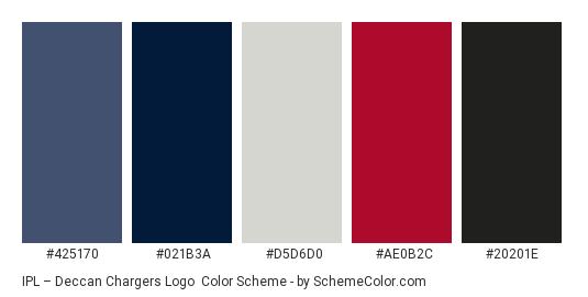 IPL – Deccan Chargers Logo - Color scheme palette thumbnail - #425170 #021b3a #d5d6d0 #ae0b2c #20201e