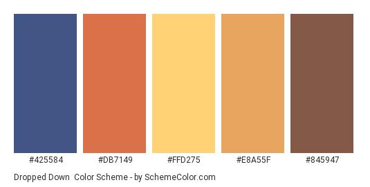 Dropped Down - Color scheme palette thumbnail - #425584 #DB7149 #FFD275 #E8A55F #845947
