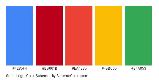 Gmail Logo - Color scheme palette thumbnail - #4285F4 #bb001b #EA4335 #FBBC05 #34A853