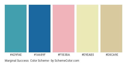 Marginal Success - Color scheme palette thumbnail - #429fae #1a689f #f1b3ba #e9eab5 #d8ca9e