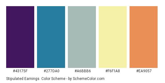Stipulated Earnings - Color scheme palette thumbnail - #43175F #277DA0 #A6BBB6 #F6F1A8 #EA9057