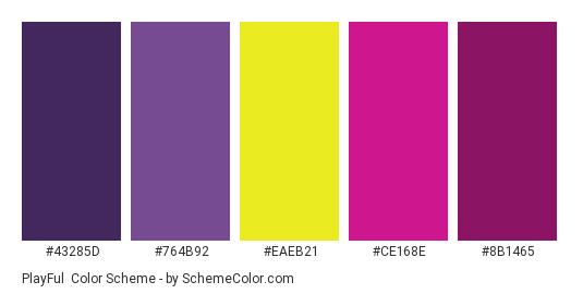 PlayFul - Color scheme palette thumbnail - #43285D #764B92 #EAEB21 #CE168E #8B1465