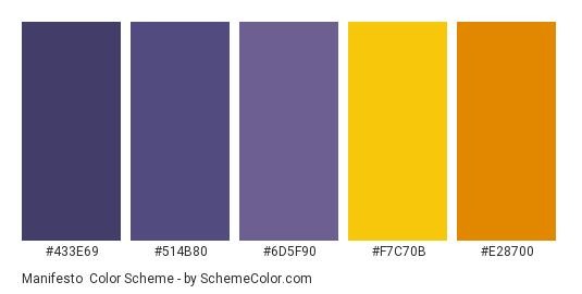 Manifesto - Color scheme palette thumbnail - #433e69 #514b80 #6d5f90 #f7c70b #e28700
