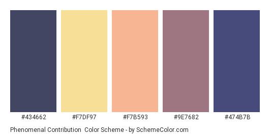 Phenomenal Contribution - Color scheme palette thumbnail - #434662 #F7DF97 #f7b593 #9E7682 #474B7B