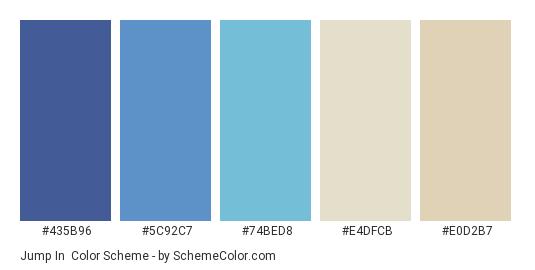 Jump In - Color scheme palette thumbnail - #435B96 #5C92C7 #74BED8 #E4DFCB #E0D2B7
