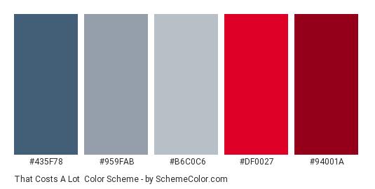 That Costs a Lot - Color scheme palette thumbnail - #435F78 #959FAB #b6c0c6 #df0027 #94001a