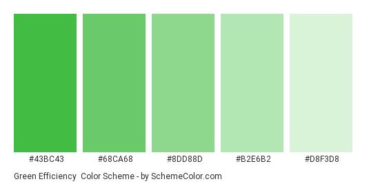 Green Efficiency - Color scheme palette thumbnail - #43BC43 #68CA68 #8DD88D #B2E6B2 #D8F3D8