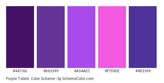 Purple Talent - Color scheme palette thumbnail - #441166 #663399 #A94AEC #F159DE #4D3399