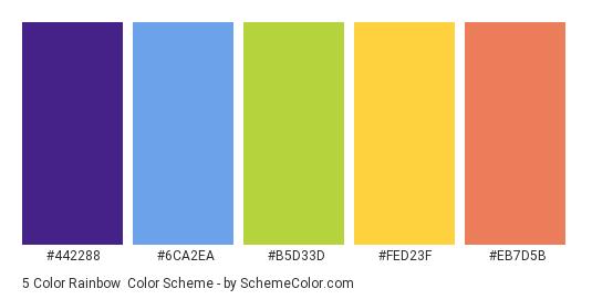 5 Color Rainbow - Color scheme palette thumbnail - #442288 #6ca2ea #b5d33d #fed23f #eb7d5b