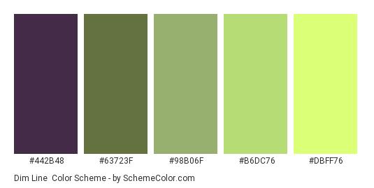 Dim Line - Color scheme palette thumbnail - #442b48 #63723F #98b06f #b6dc76 #dbff76