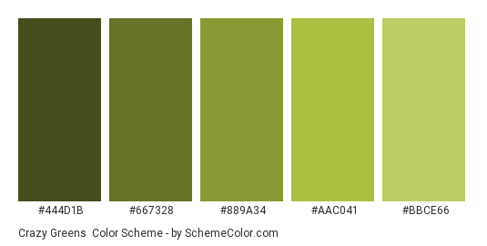 Crazy Greens - Color scheme palette thumbnail - #444D1B #667328 #889A34 #AAC041 #BBCE66