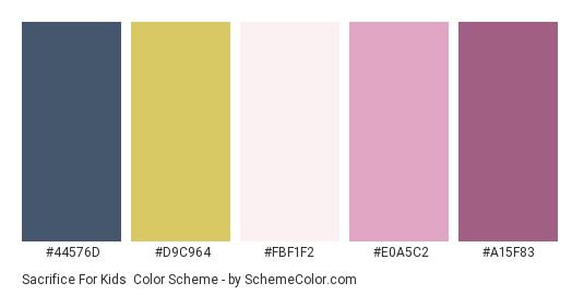 Sacrifice for Kids - Color scheme palette thumbnail - #44576D #D9C964 #FBF1F2 #E0A5C2 #A15F83