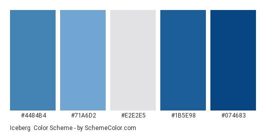 Iceberg - Color scheme palette thumbnail - #4484b4 #71a6d2 #e2e2e5 #1b5e98 #074683