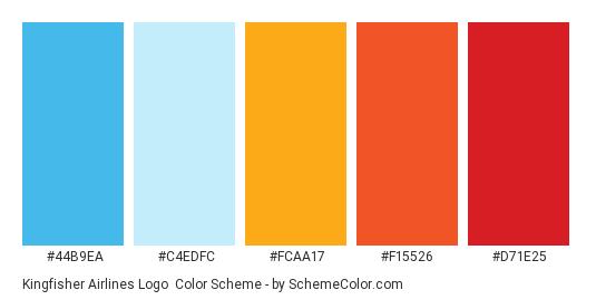 Kingfisher Airlines Logo - Color scheme palette thumbnail - #44B9EA #C4EDFC #FCAA17 #F15526 #D71E25