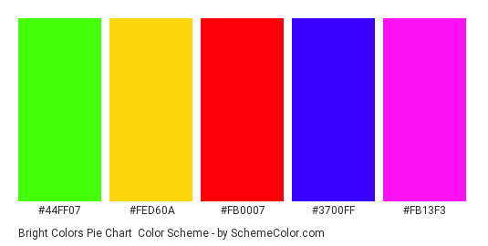 Bright Colors Pie Chart - Color scheme palette thumbnail - #44FF07 #FED60A #FB0007 #3700FF #FB13F3
