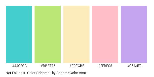 Not Faking it - Color scheme palette thumbnail - #44cfcc #bbe776 #fdecbb #ffbfc8 #c5a4f0