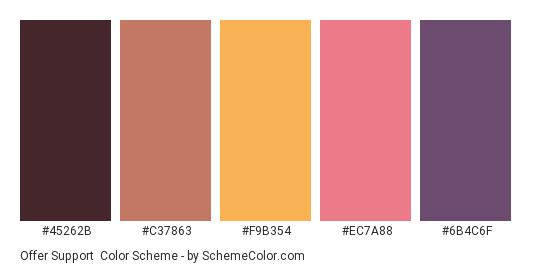 Offer Support - Color scheme palette thumbnail - #45262B #C37863 #F9B354 #EC7A88 #6B4C6F