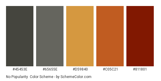 No Popularity - Color scheme palette thumbnail - #45453e #65655e #d59840 #c05c21 #811801