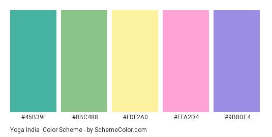 Yoga India - Color scheme palette thumbnail - #45b39f #8bc488 #fdf2a0 #ffa2d4 #9b8de4