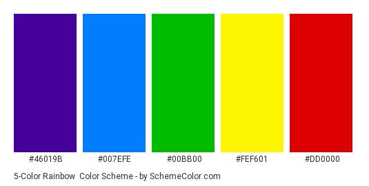 5-Color Rainbow - Color scheme palette thumbnail - #46019b #007efe #00bb00 #fef601 #dd0000