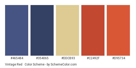 Vintage Red & Blue - Color scheme palette thumbnail - #465484 #354065 #DDCB93 #C2492F #D95734