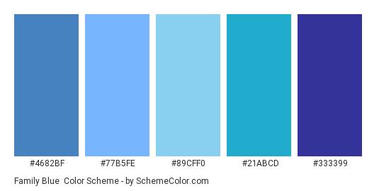 Family Blue - Color scheme palette thumbnail - #4682BF #77B5FE #89CFF0 #21ABCD #333399