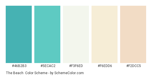 The Beach - Color scheme palette thumbnail - #46B2B3 #5ECAC2 #F3F6ED #F6EDD6 #F2DCC5