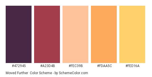 Moved Further - Color scheme palette thumbnail - #472945 #A23D4B #FEC39B #FDAA5C #FED16A
