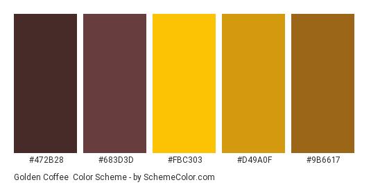 Golden Coffee - Color scheme palette thumbnail - #472b28 #683d3d #fbc303 #d49a0f #9b6617