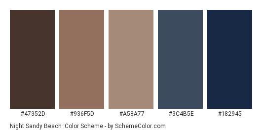 Night Sandy Beach - Color scheme palette thumbnail - #47352D #936F5D #A58A77 #3C4B5E #182945