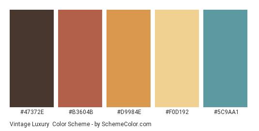 Vintage Luxury - Color scheme palette thumbnail - #47372E #B3604B #D9984E #F0D192 #5C9AA1