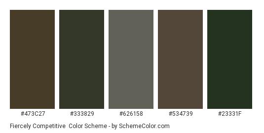 Fiercely Competitive - Color scheme palette thumbnail - #473c27 #333829 #626158 #534739 #23331f