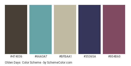 Olden Days - Color scheme palette thumbnail - #474036 #66a3a7 #bfbaa1 #35365a #804b60