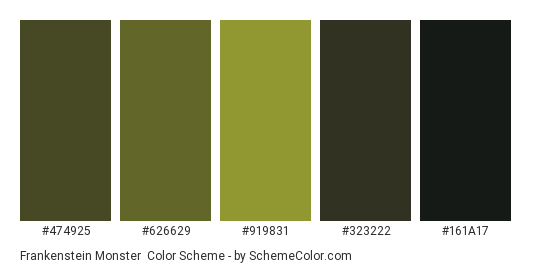 Frankenstein Monster - Color scheme palette thumbnail - #474925 #626629 #919831 #323222 #161a17