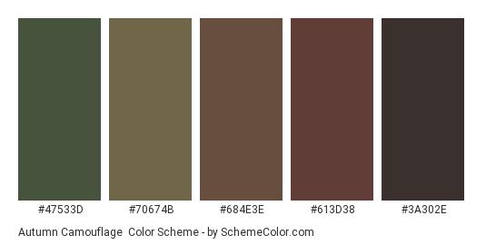 Autumn Camouflage - Color scheme palette thumbnail - #47533d #70674b #684e3e #613d38 #3a302e
